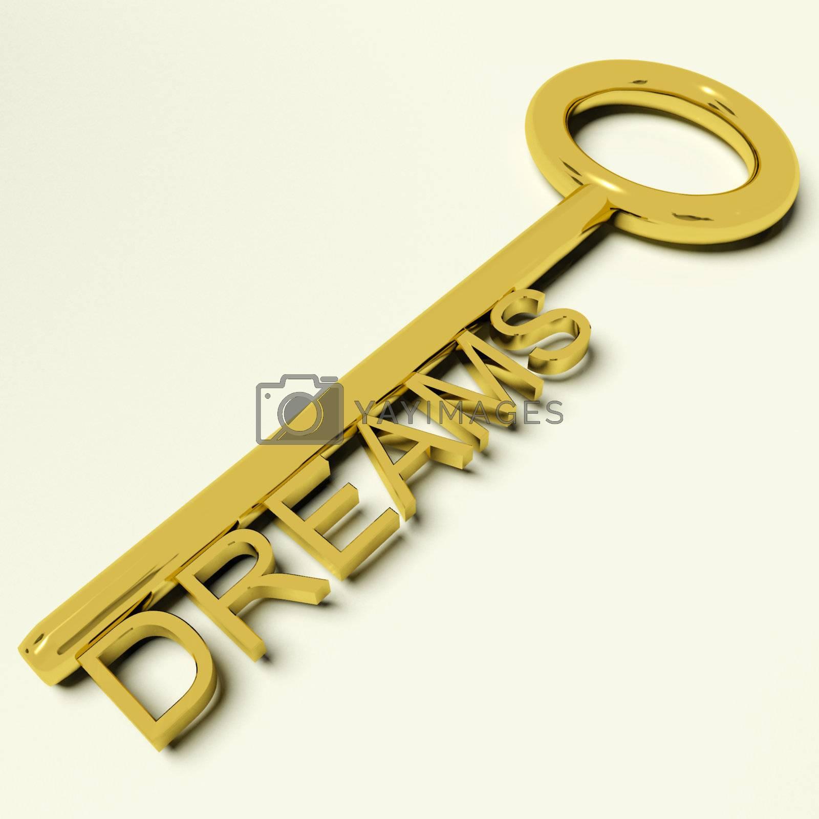 Dreams Gold Key Representing Hopes And Ambition