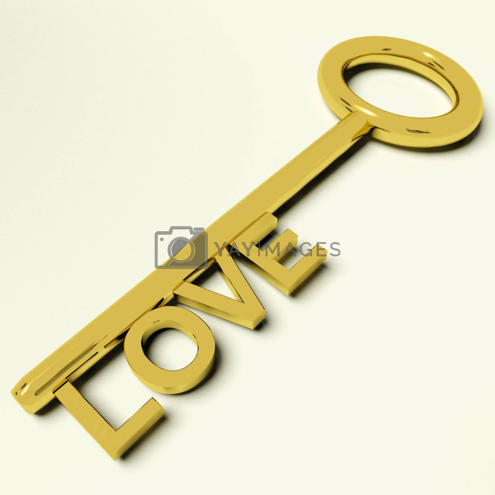 Love Gold Key Representing Adoration And Feelings