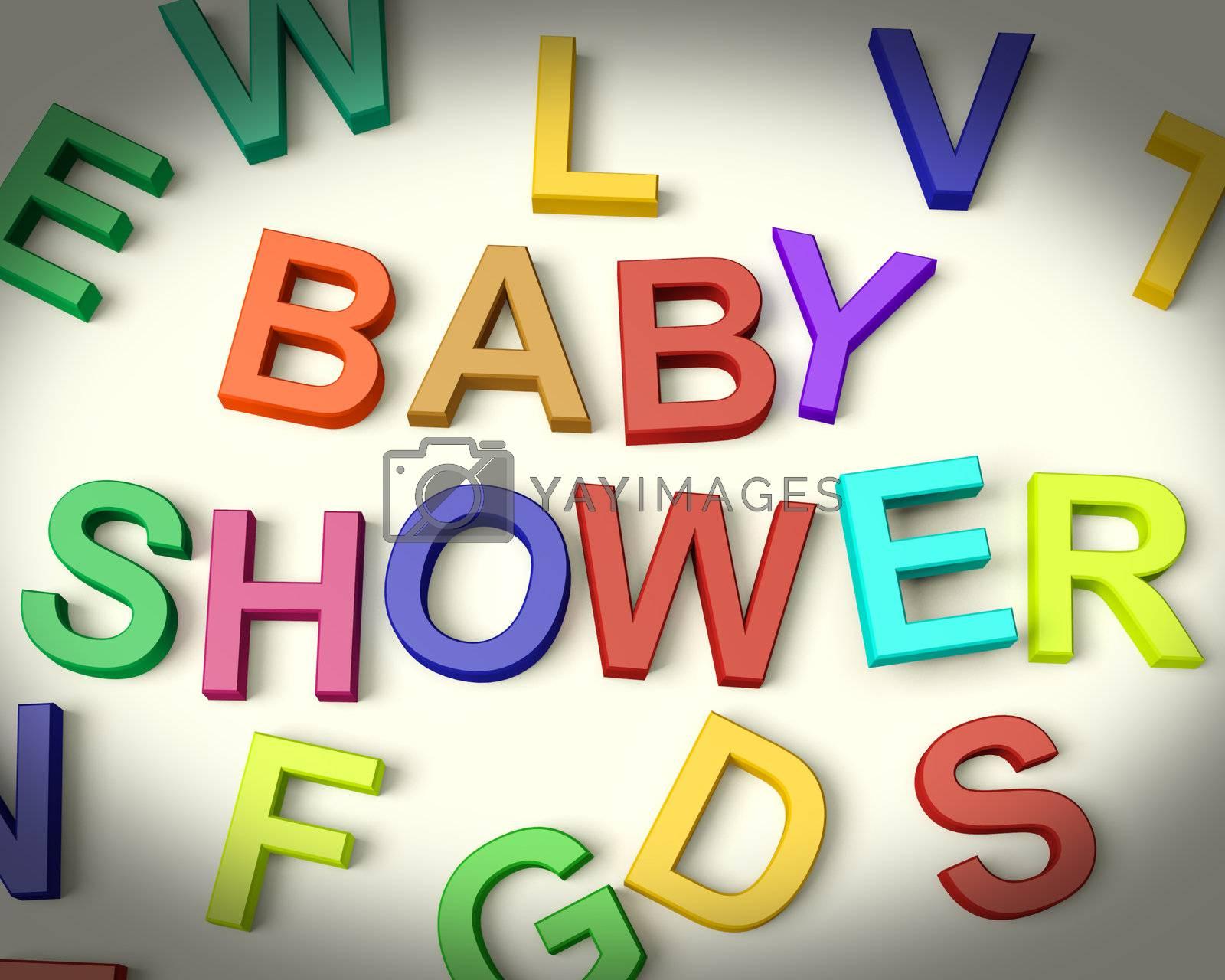 Baby Shower Written In Multicolored Kids Letters