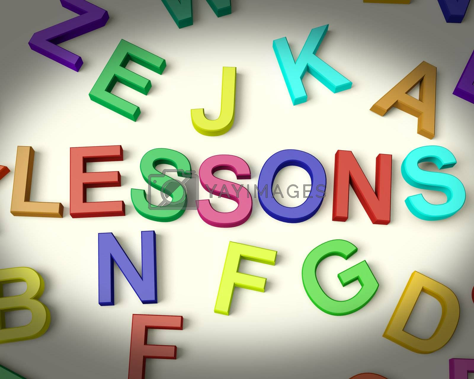 Lessons Written In Multicolored Plastic Kids Letters