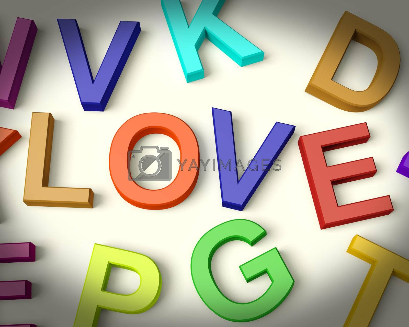 Love Written In Multicolored Plastic Kids Letters
