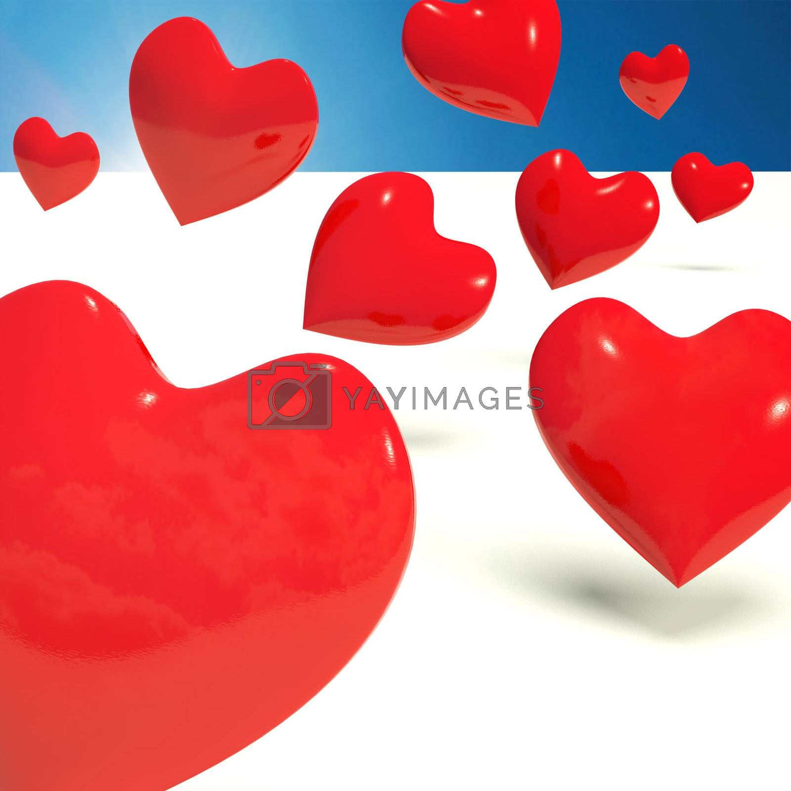 Falling Red Hearts Representing Love And Adoration