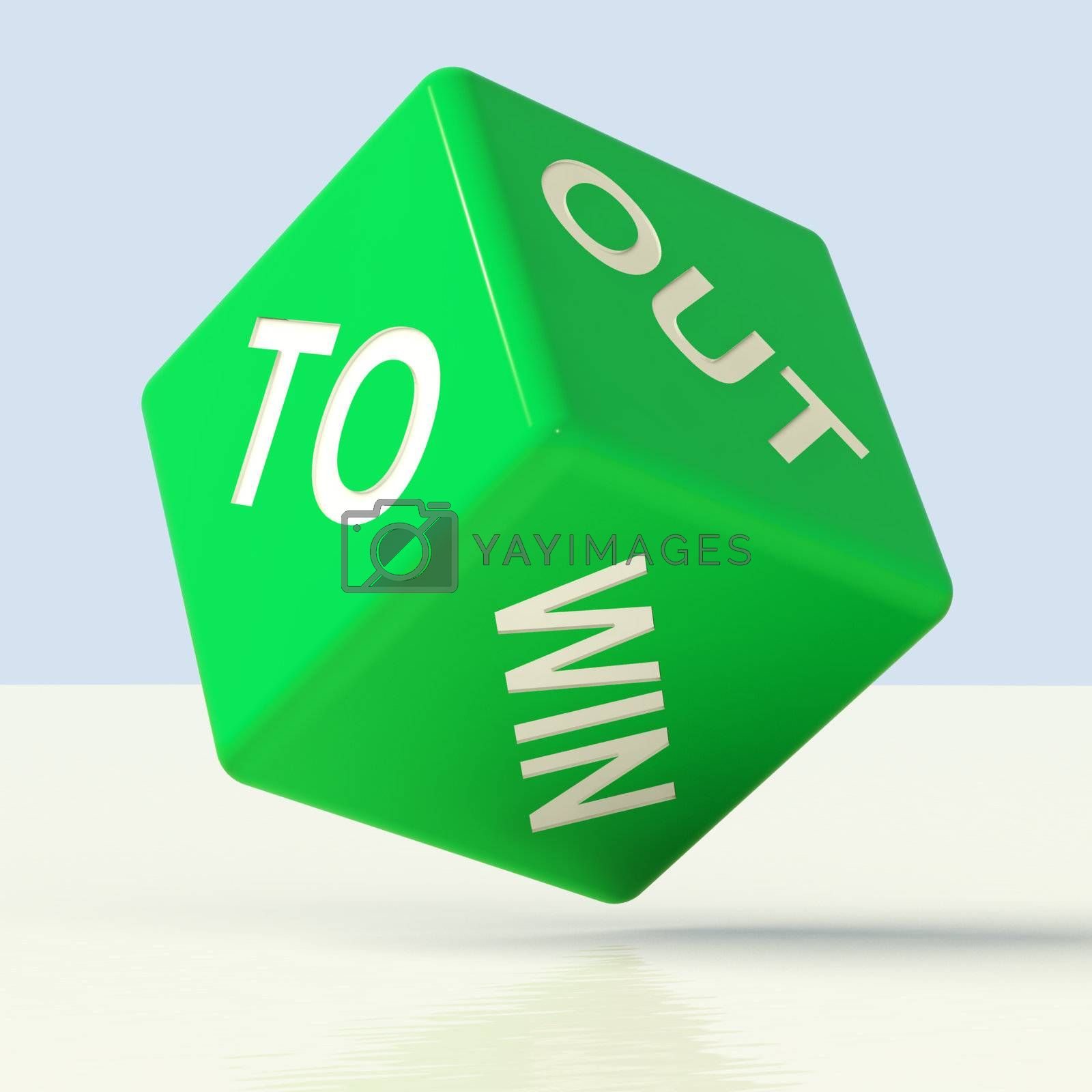 Out To Win Blue Dice Representing Desire To Achieve