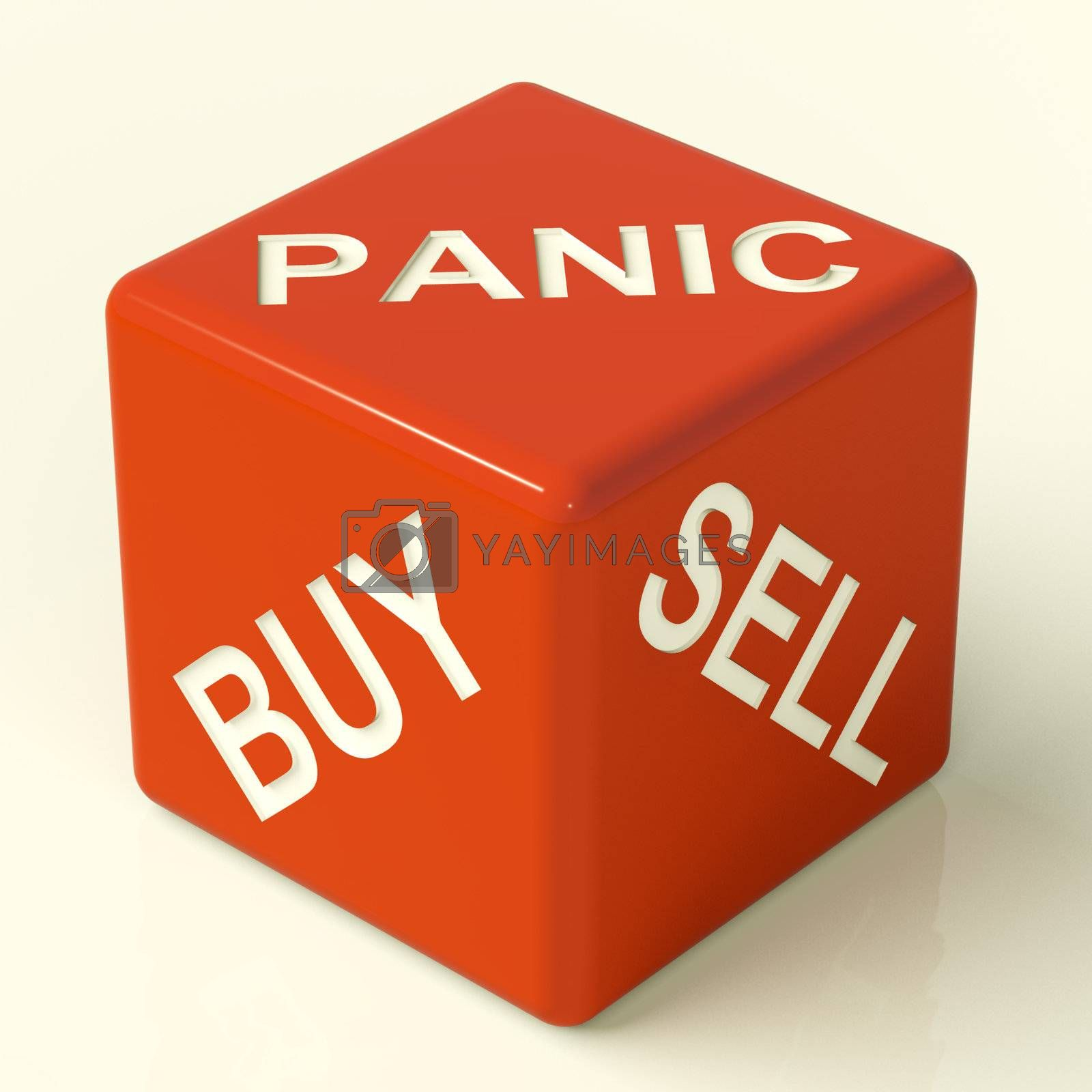 Buy Panic And Sell Red Dice Representing Market Stress