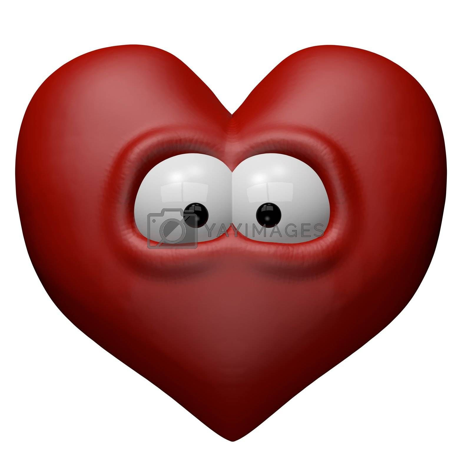 red heart with eyes - 3d cartoon illustration