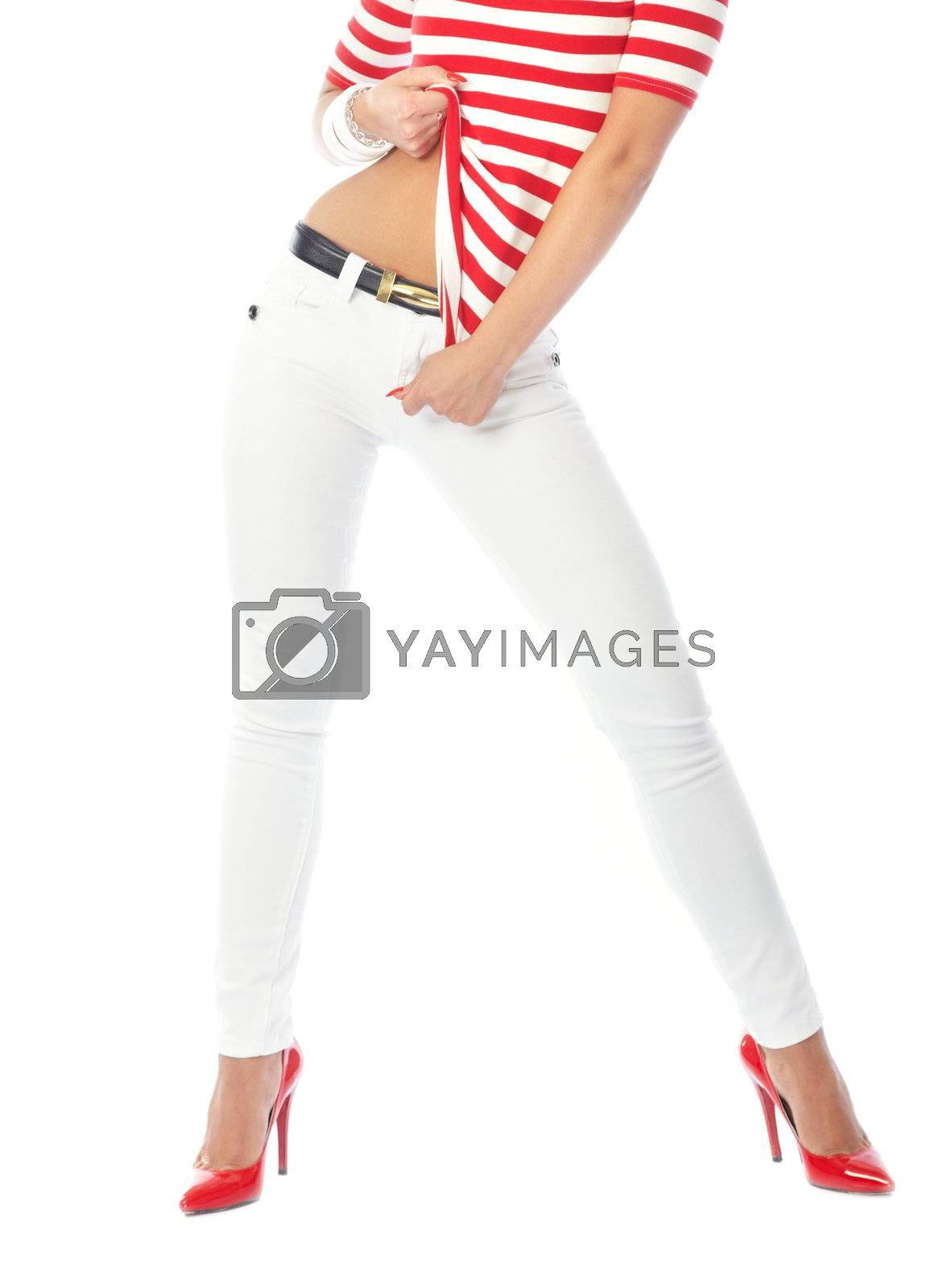 Part of the stylish woman wearing modern clothes on a white background