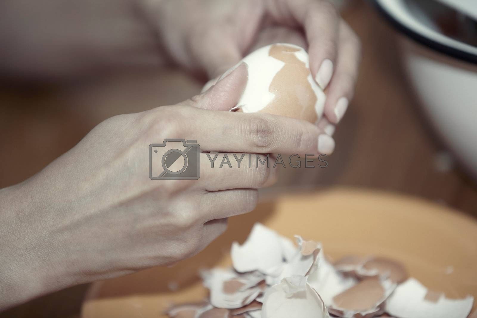 Human hand clearing boiled egg