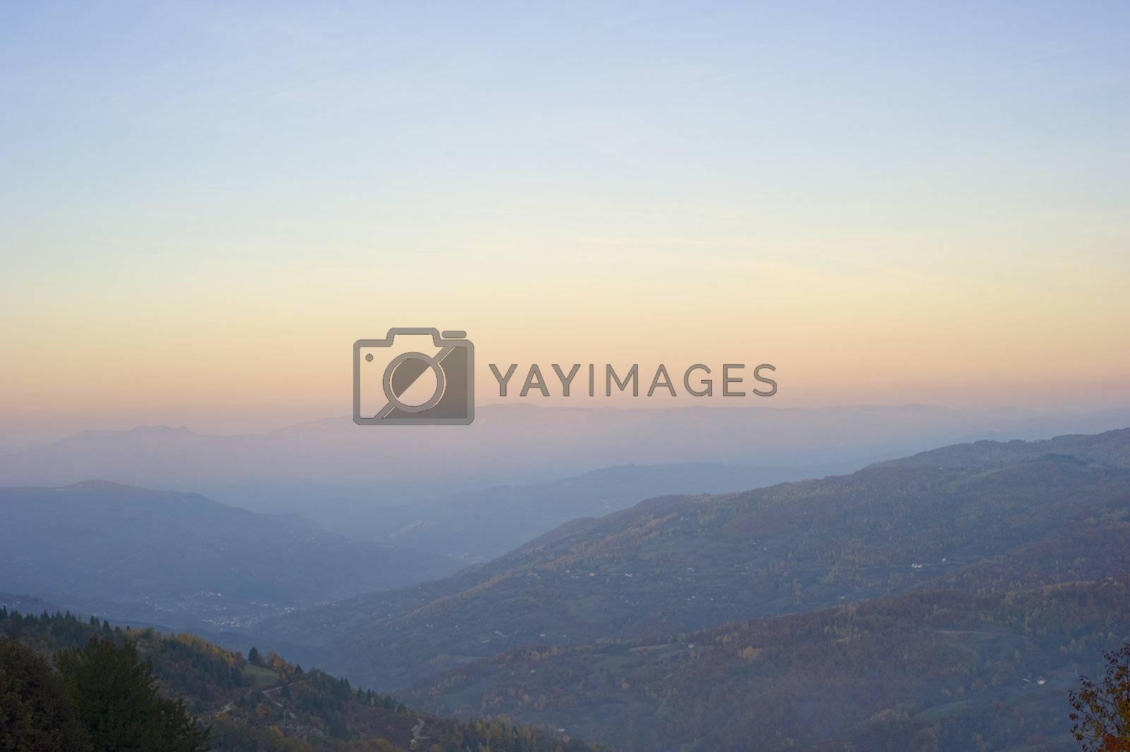 Beautiful view of Balkans mountains at sunset