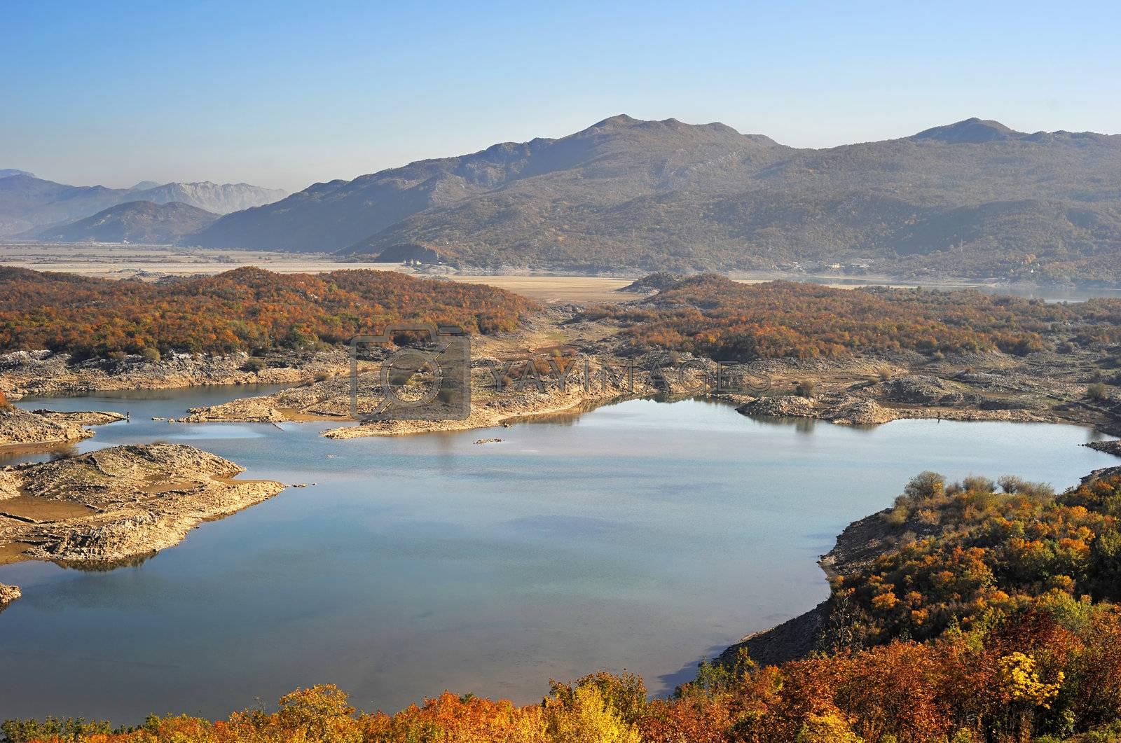 Mountain lake at sunset. Montenegro