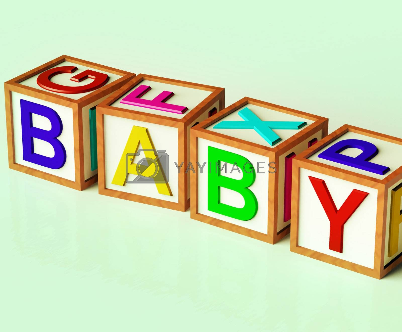 Kids Wooden Blocks Spelling Baby As Symbol for Babies And Childhood