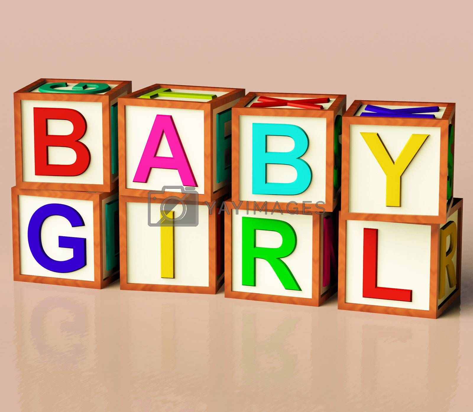 Kids Wooden Blocks Spelling Baby Girl As Symbol for Babies And Childhood