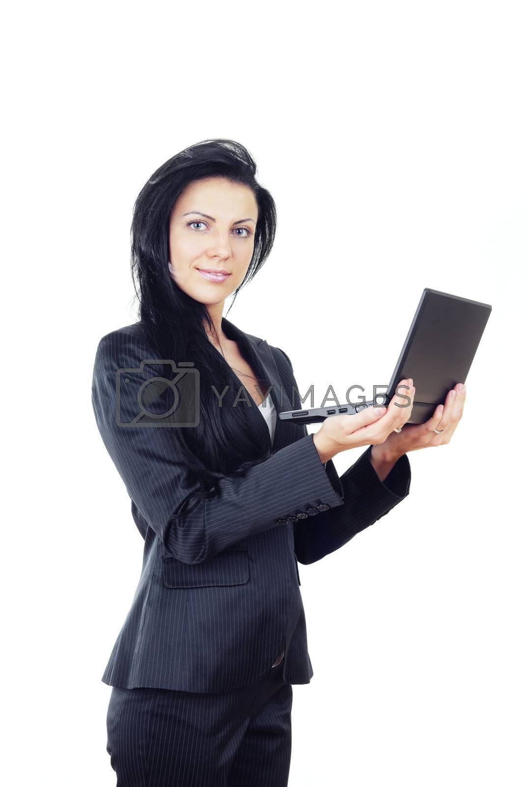Pretty woman with laptop on a white background