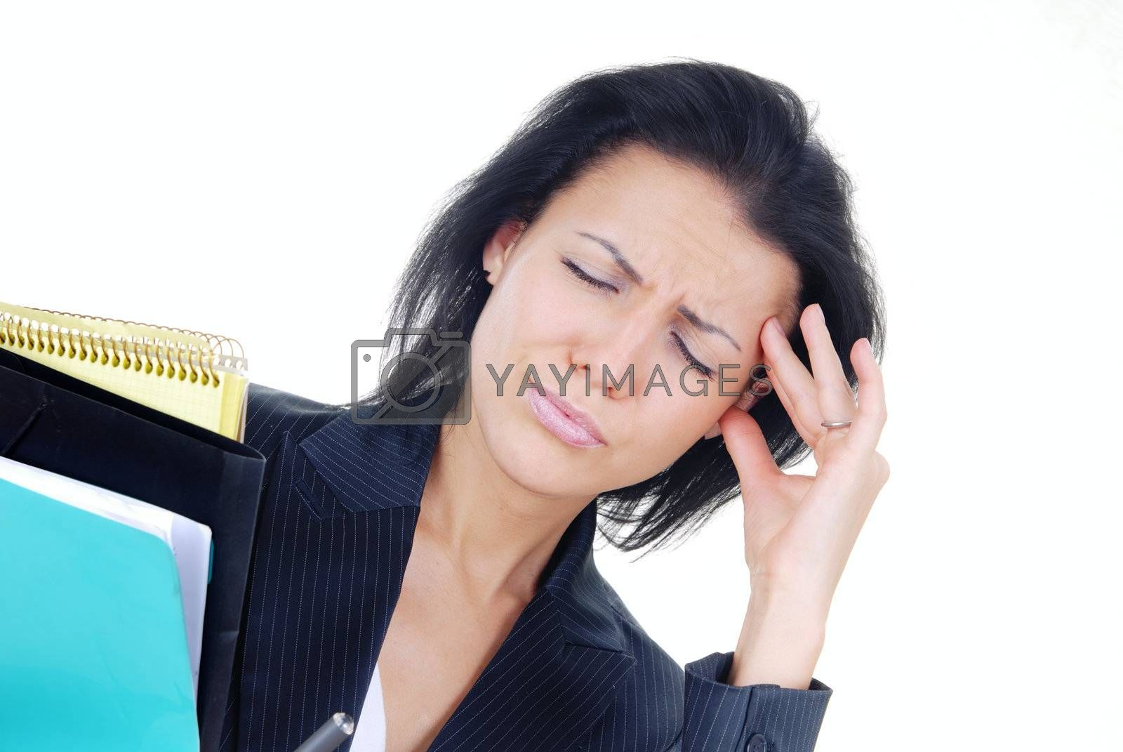Displeased businesswoman in stress holding a folder with documents
