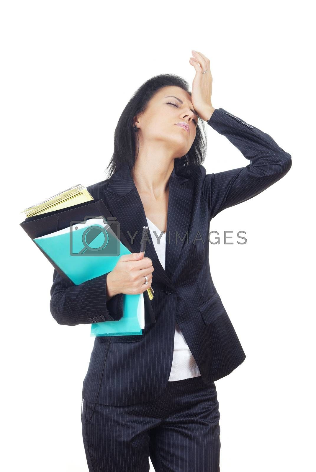 Studio photo of the businesswoman in crisis on a white background