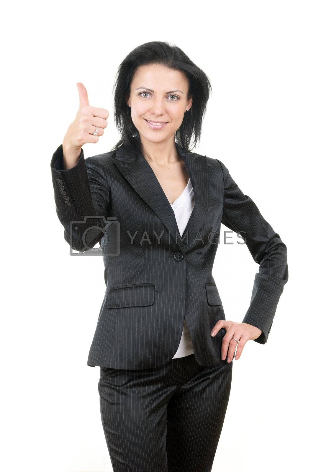 Glad businesswoman in official costume with OK sign
