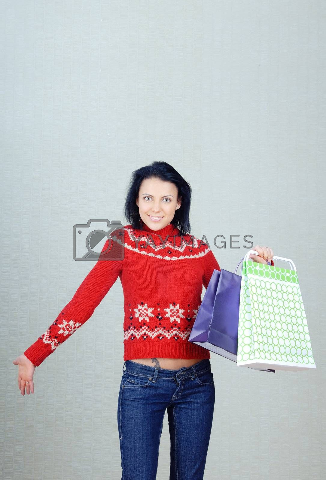 Photo of happy lady with shopping packages and gifts