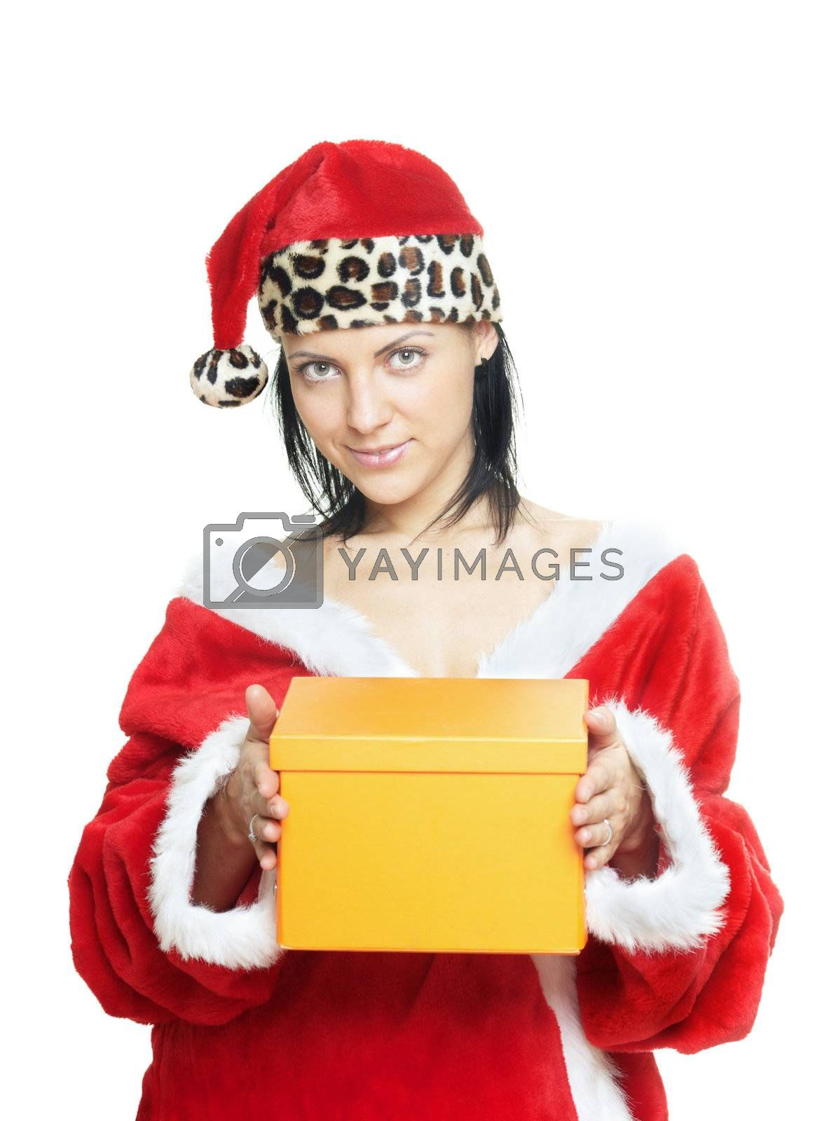 Sexy lady in Santa costume giving the gift