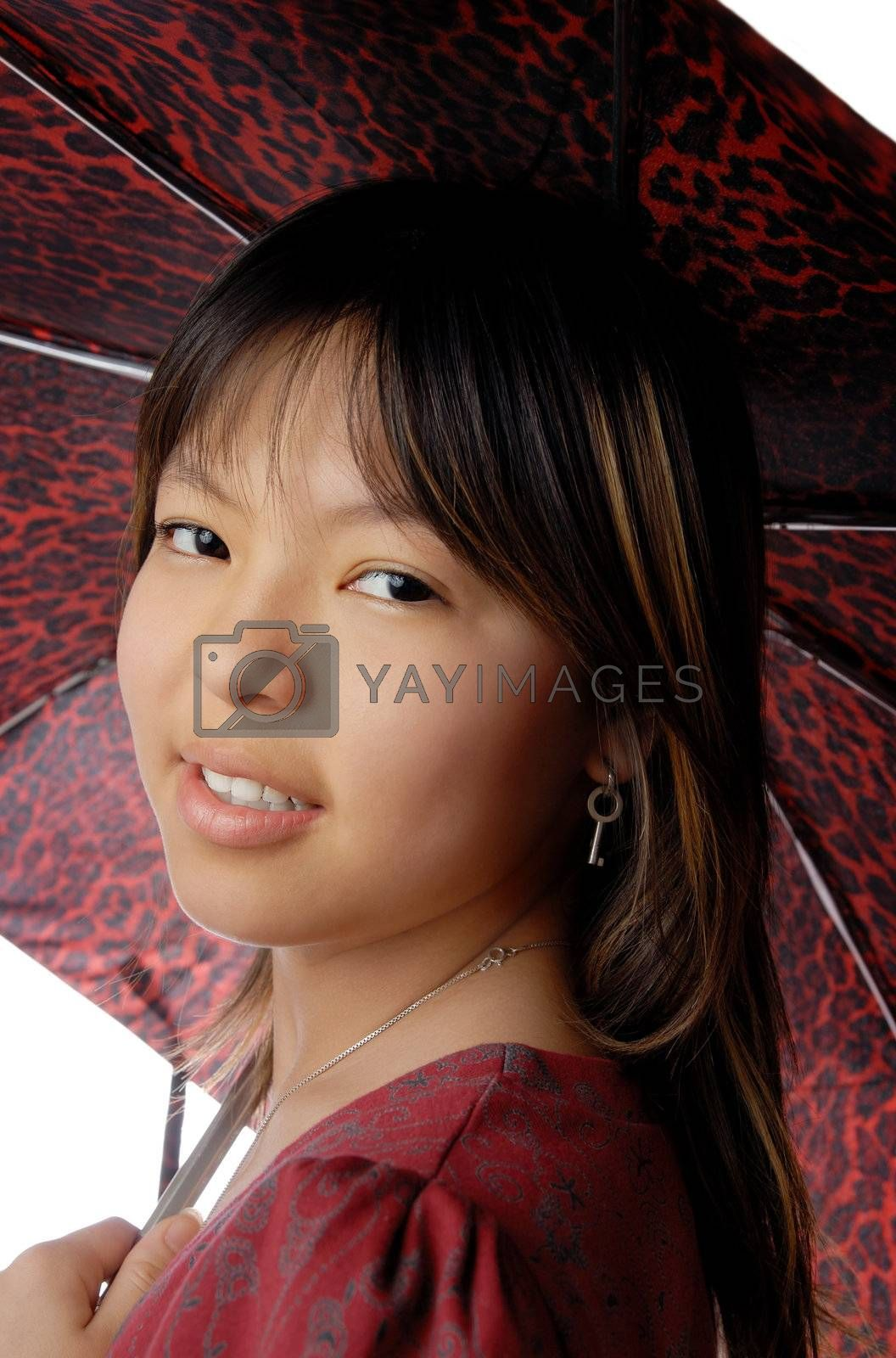 Photo of the young smiling model with umbrella