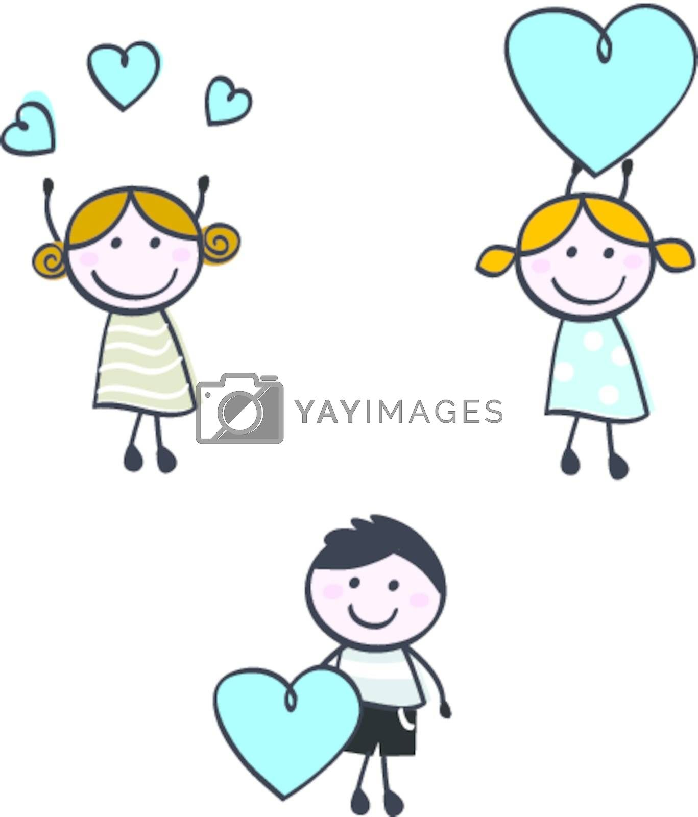 Stick doodle kids figures with heart banners by Lordalea