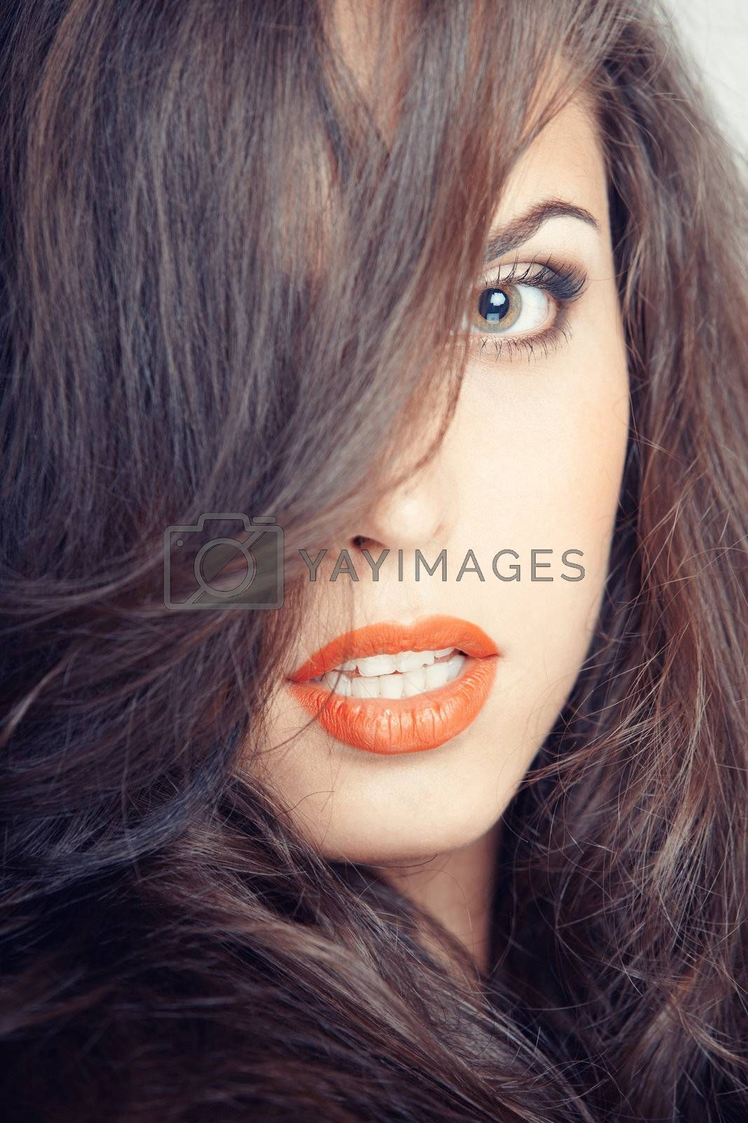 Portrait of attractive woman. Colorful photo
