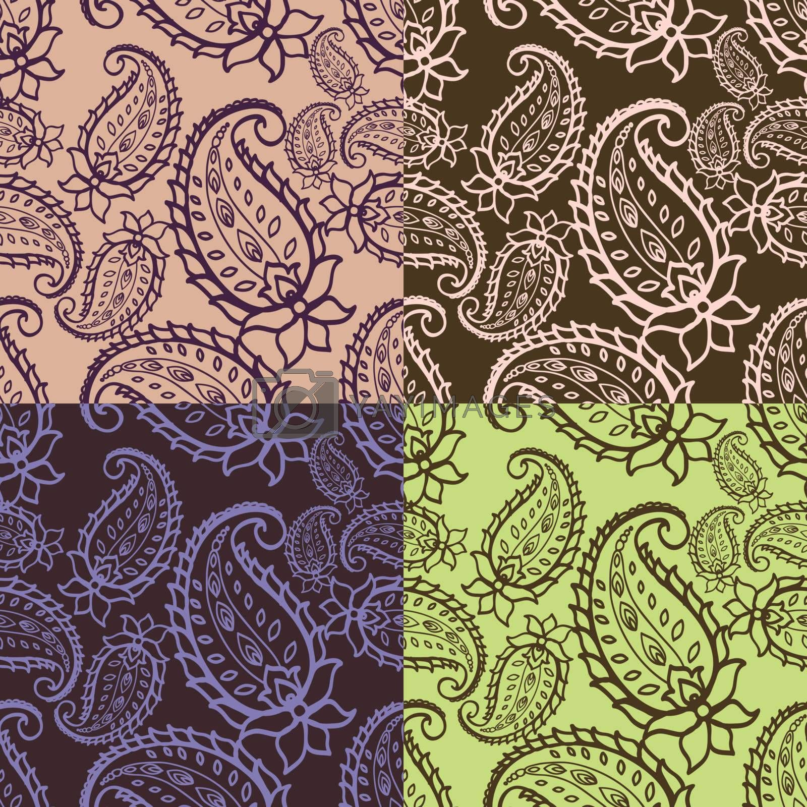 Paisley seamless pattern in 4 colour variations