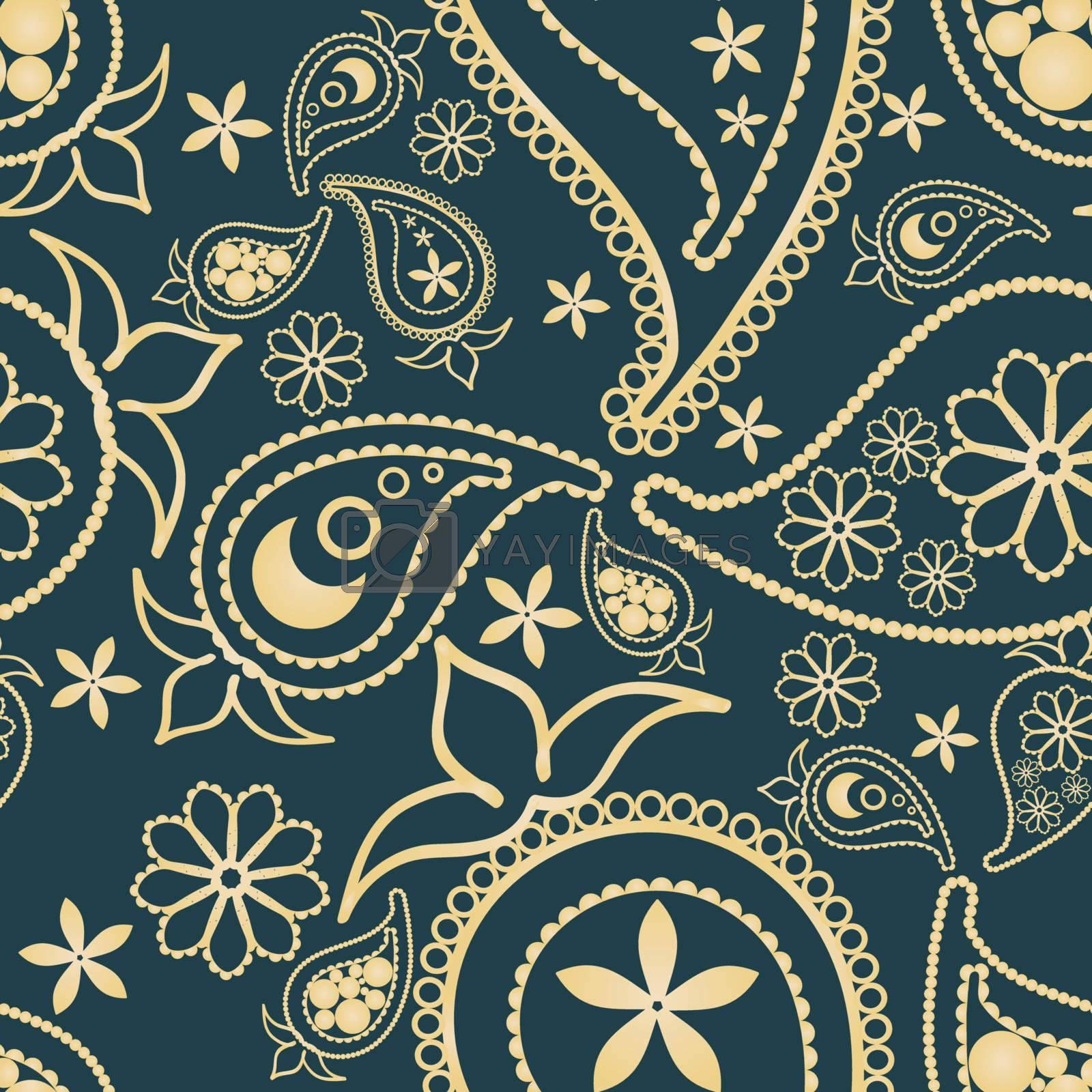 Paisley seamless pattern with dark  cyan background