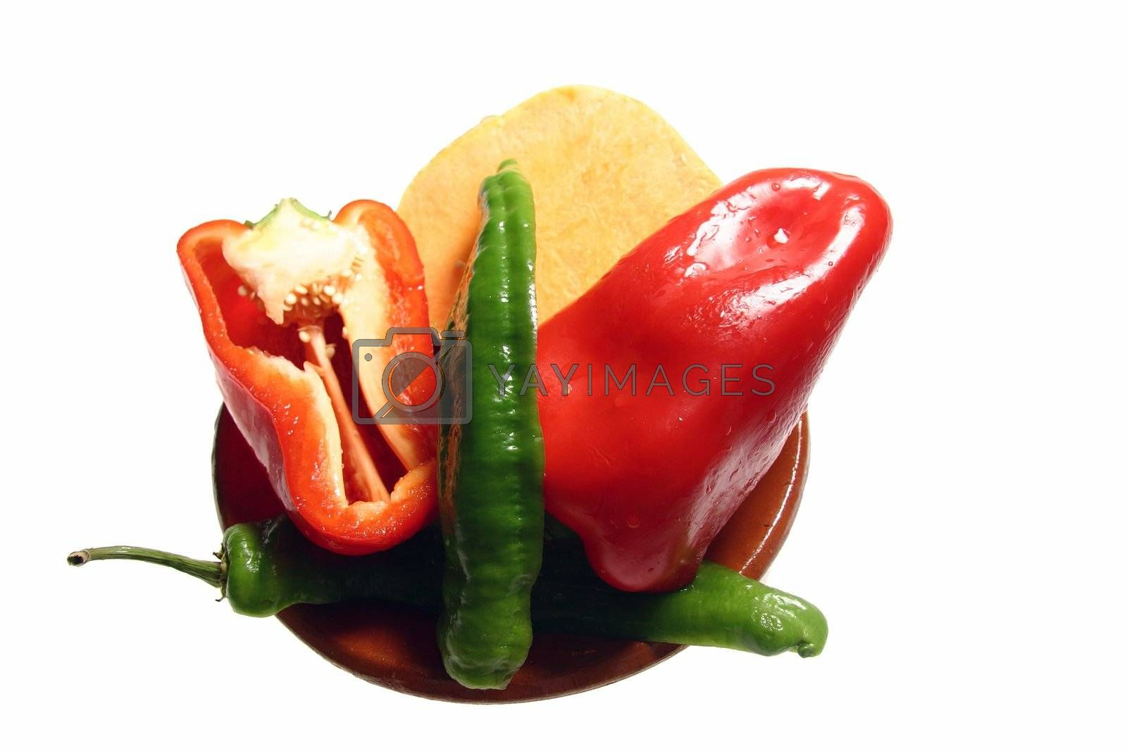 vegetables for salads of differents peppers