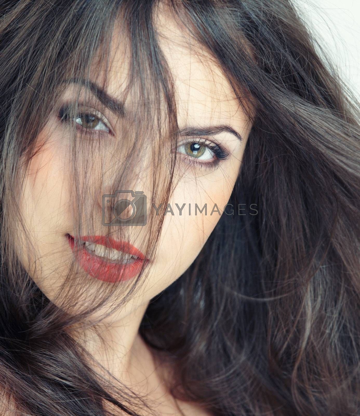 Smiling beautiful lady. Studio colorful photo