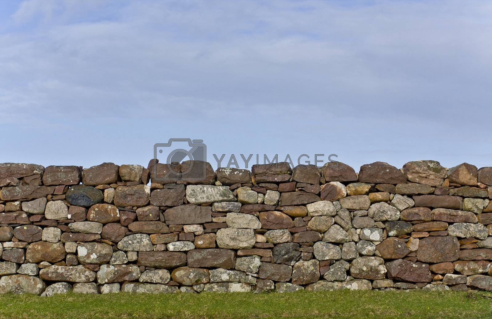 scottish stone wall in evening light. detail shot. vertical image