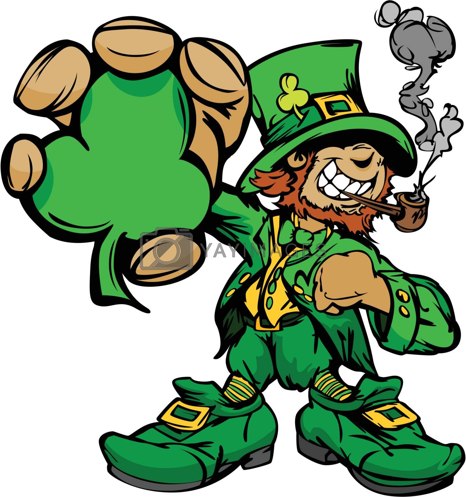 Happy Cartoon Leprechaun on St Patrick Day Holiday Vector Illustration