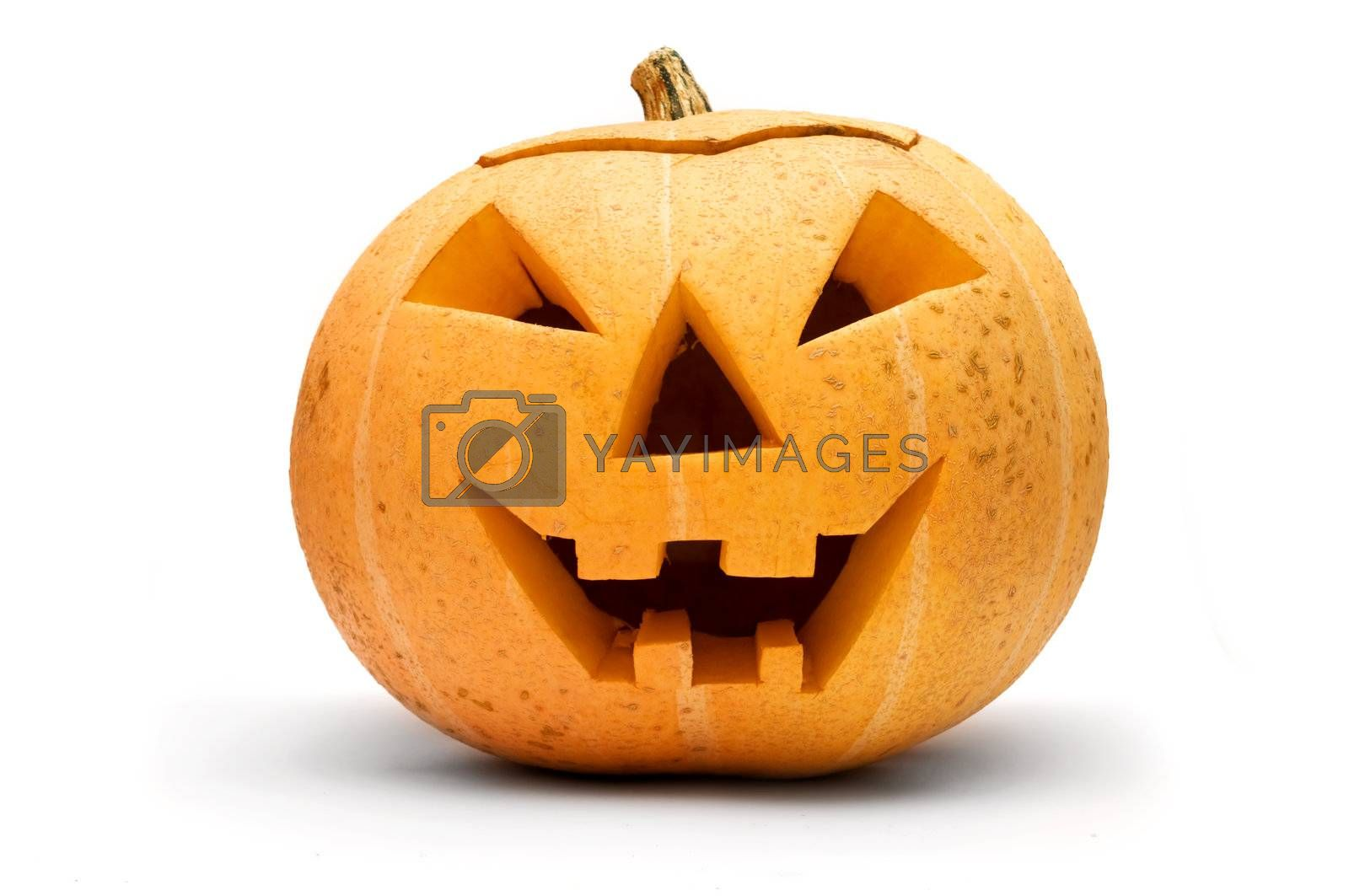 Halloween scary pumpkin face isolated on white