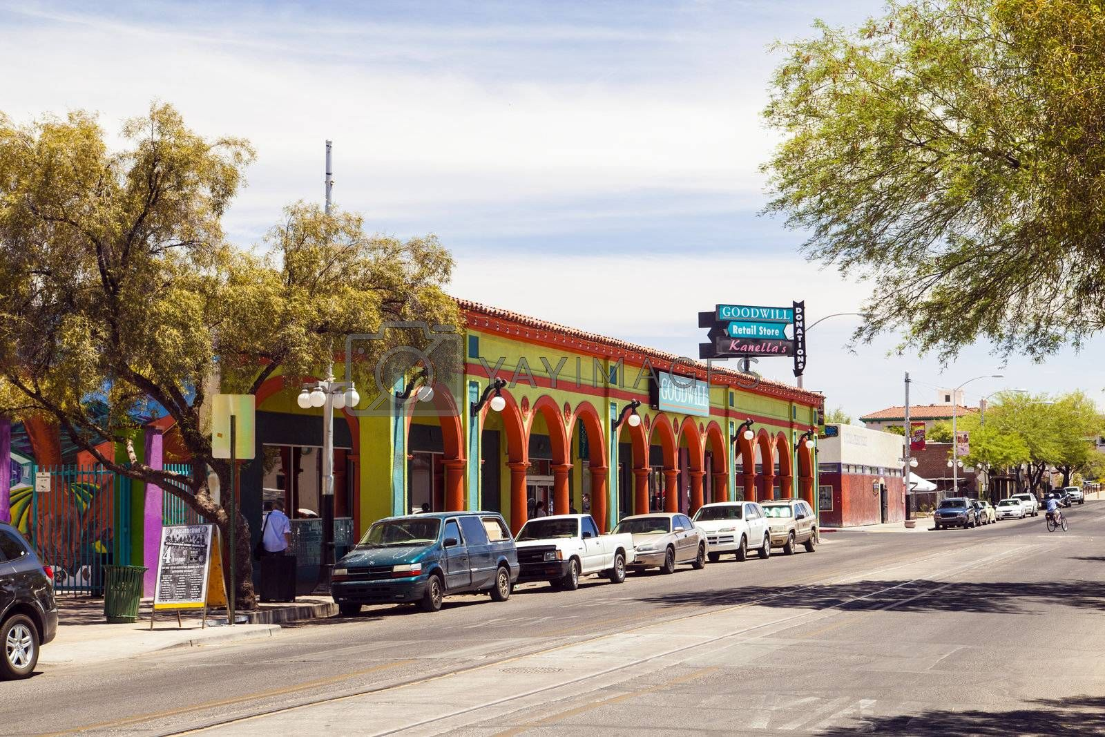 TUCSON, USA - June 12: in the old city on June 16,2012 in TUCSON, USA. In 1775 the fort   Presidio San Agustin del Tucson was founded. Nowadays Tucson is the second biggest town in Arizona with 520 tsd inhabitants.