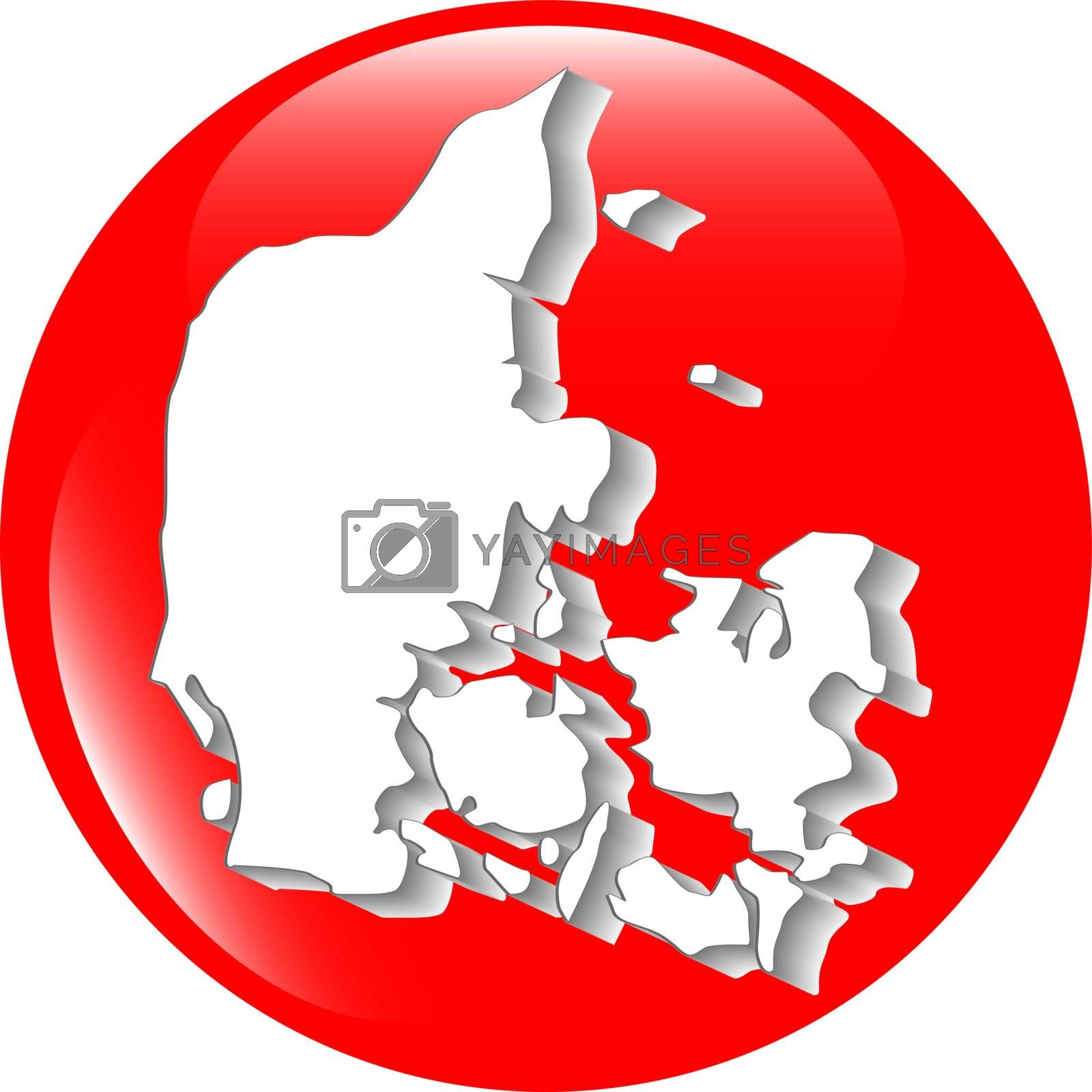 map of Denmark filled with flag of the state