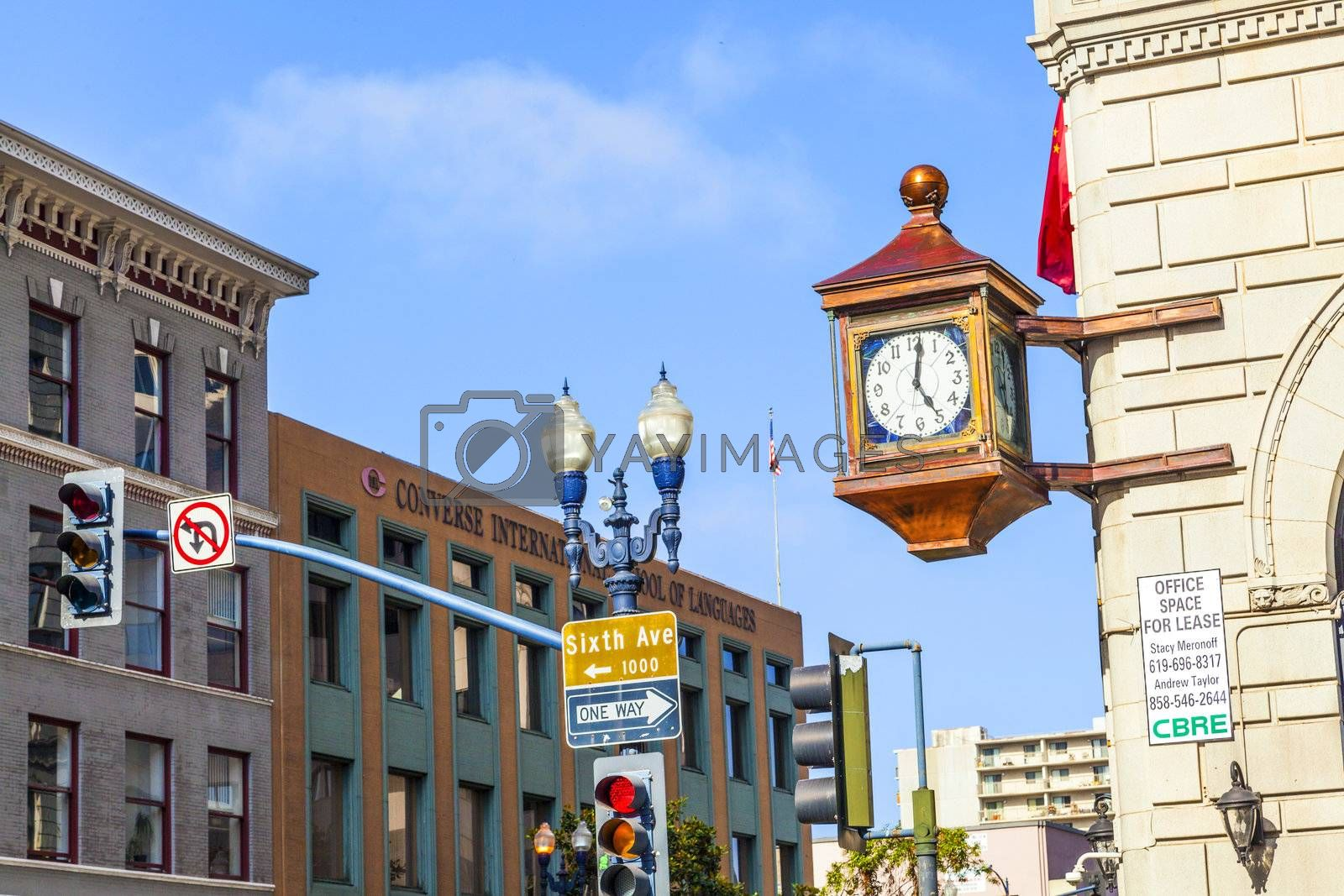 SAN DIEGO, USA - JUNE 11: facade with old clock in the gaslamp quarter on June 11, 2012 in San Diego, USA. The area is a historic district on the National Register of Historic Places and dates back to 1867.