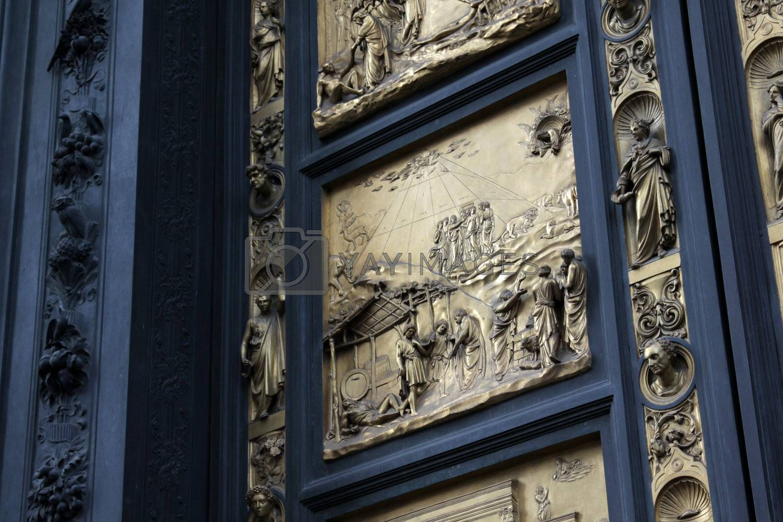 The Noah panel in the 'Gates of Paradise', doors of the Baptistry of the Florence cathedral (Duomo).  This is a replica of the original.