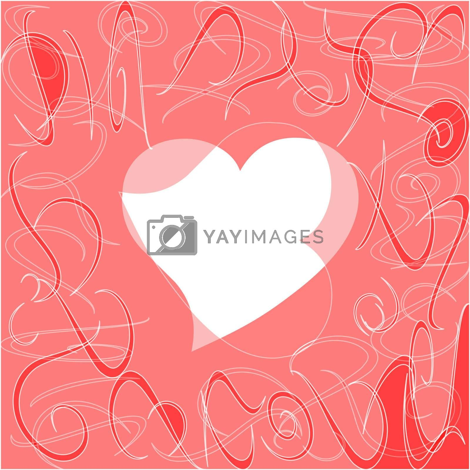 Heart love card, valentine day abstract background, vector illustration
