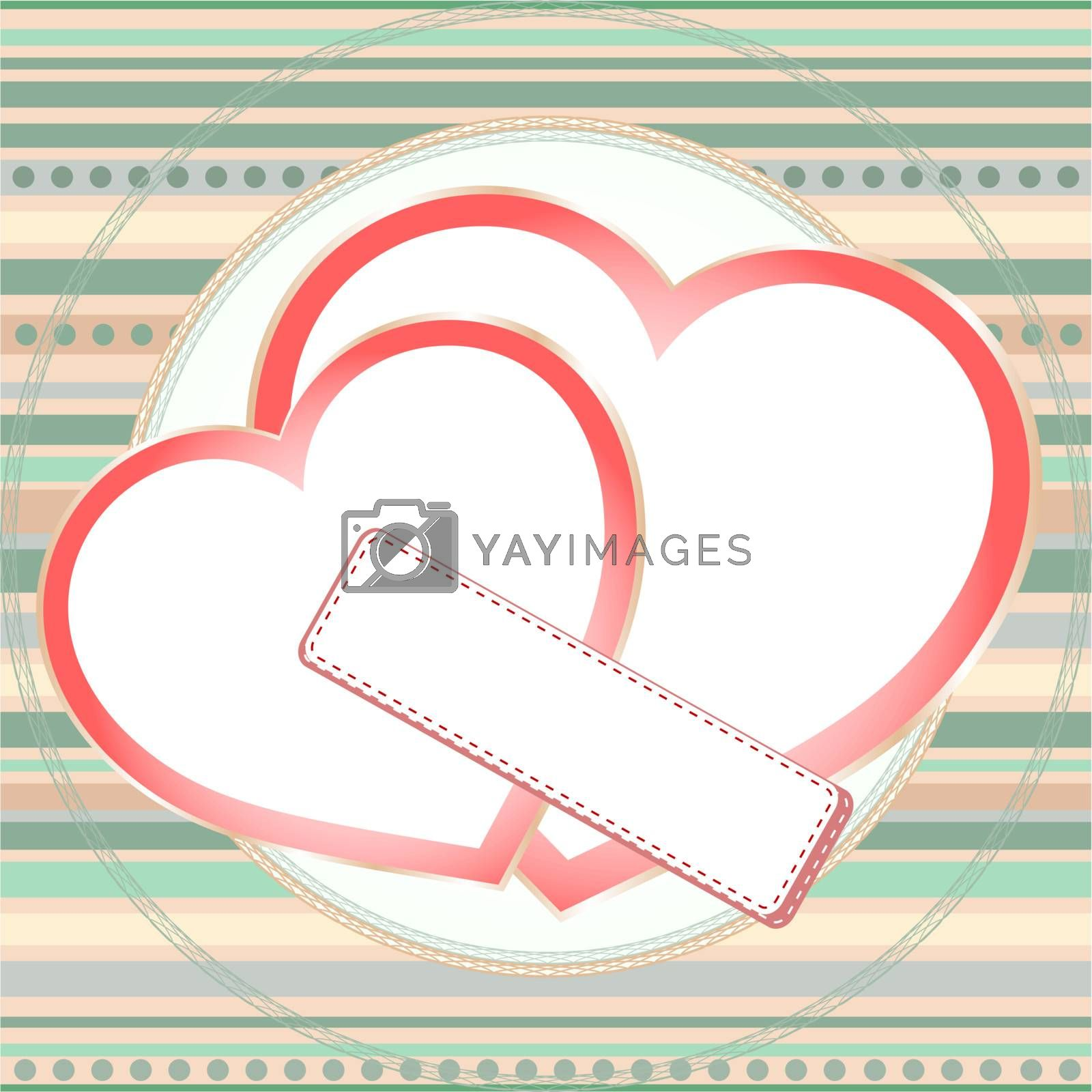 pink seamless pattern with two grunge love hearts