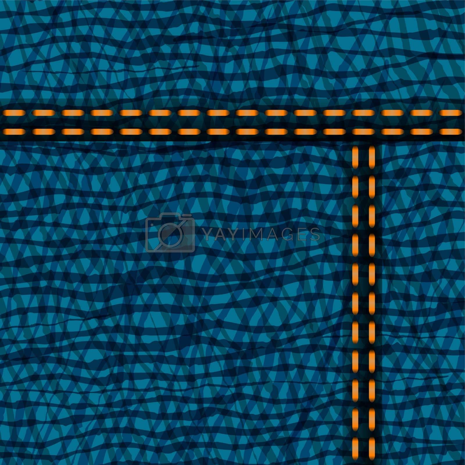 Worn blue denim jeans texture, background vector