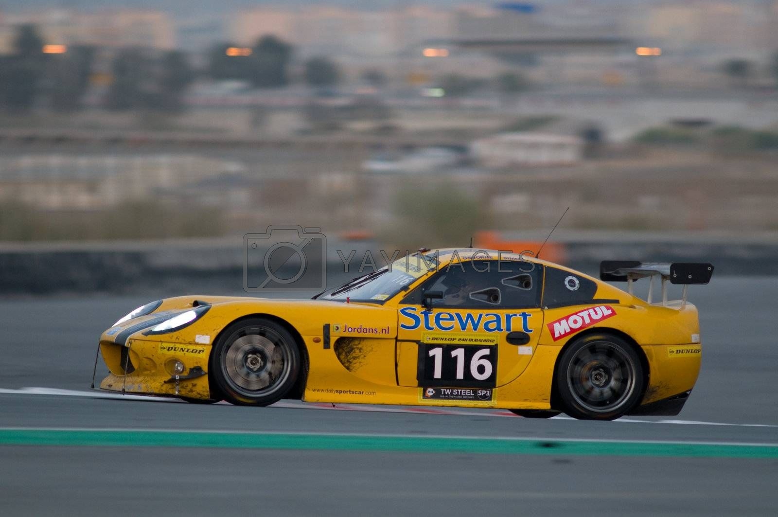 DUBAI - JANUARY 14: Car 116, a Ginetta G50 Trophy, during the morning hours of the 2012 Dunlop 24 Hour Race at Dubai Autodrome on January 14, 2012.