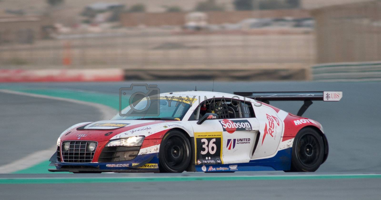 DUBAI - JANUARY 14: Car 36, an Audi GT3 LMS, during the morning hours of the 2012 Dunlop 24 Hour Race at Dubai Autodrome on January 14, 2012.
