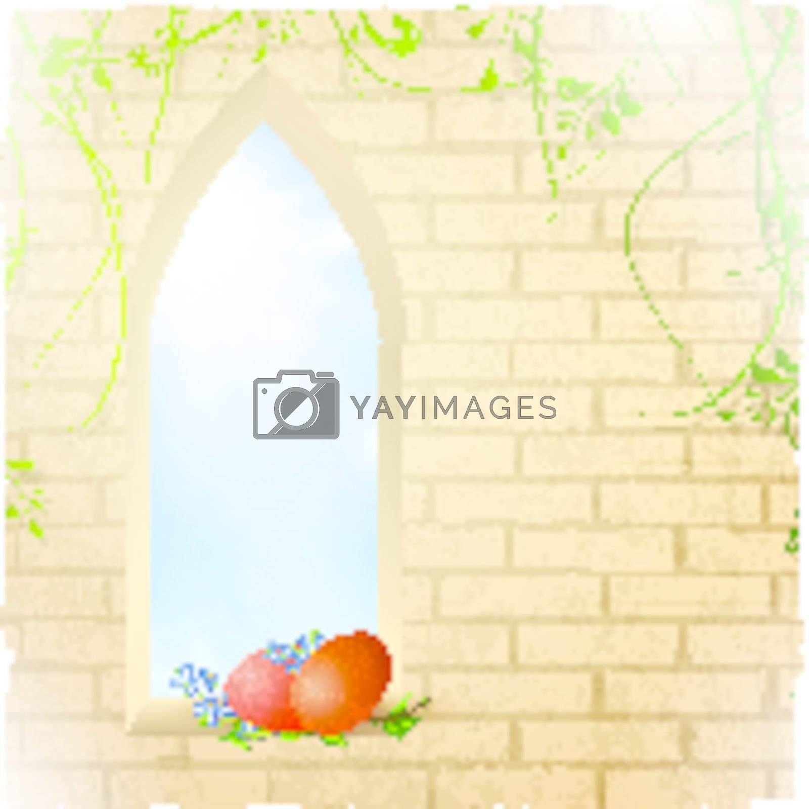 Easter scenery with blue sky in arc window and eggs