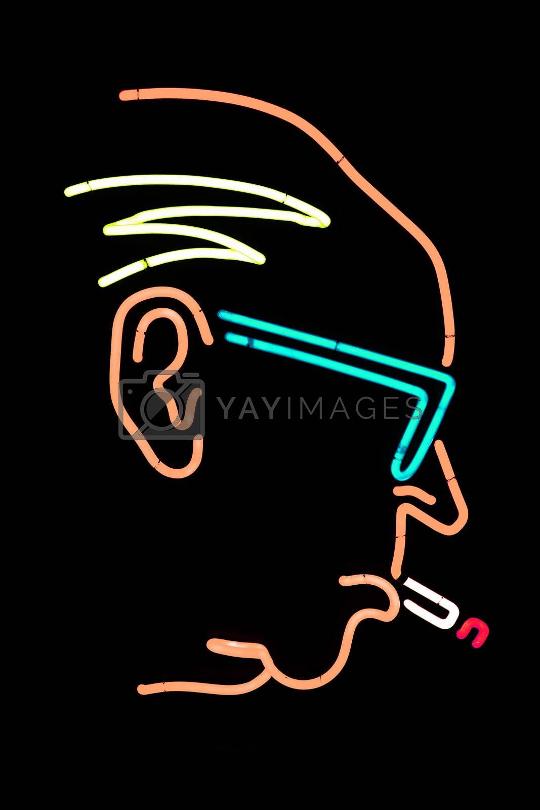 Portrait of Poul Henningsen made in neon light. PH was a Danish architect, film director, inventor, poet and society castigator.