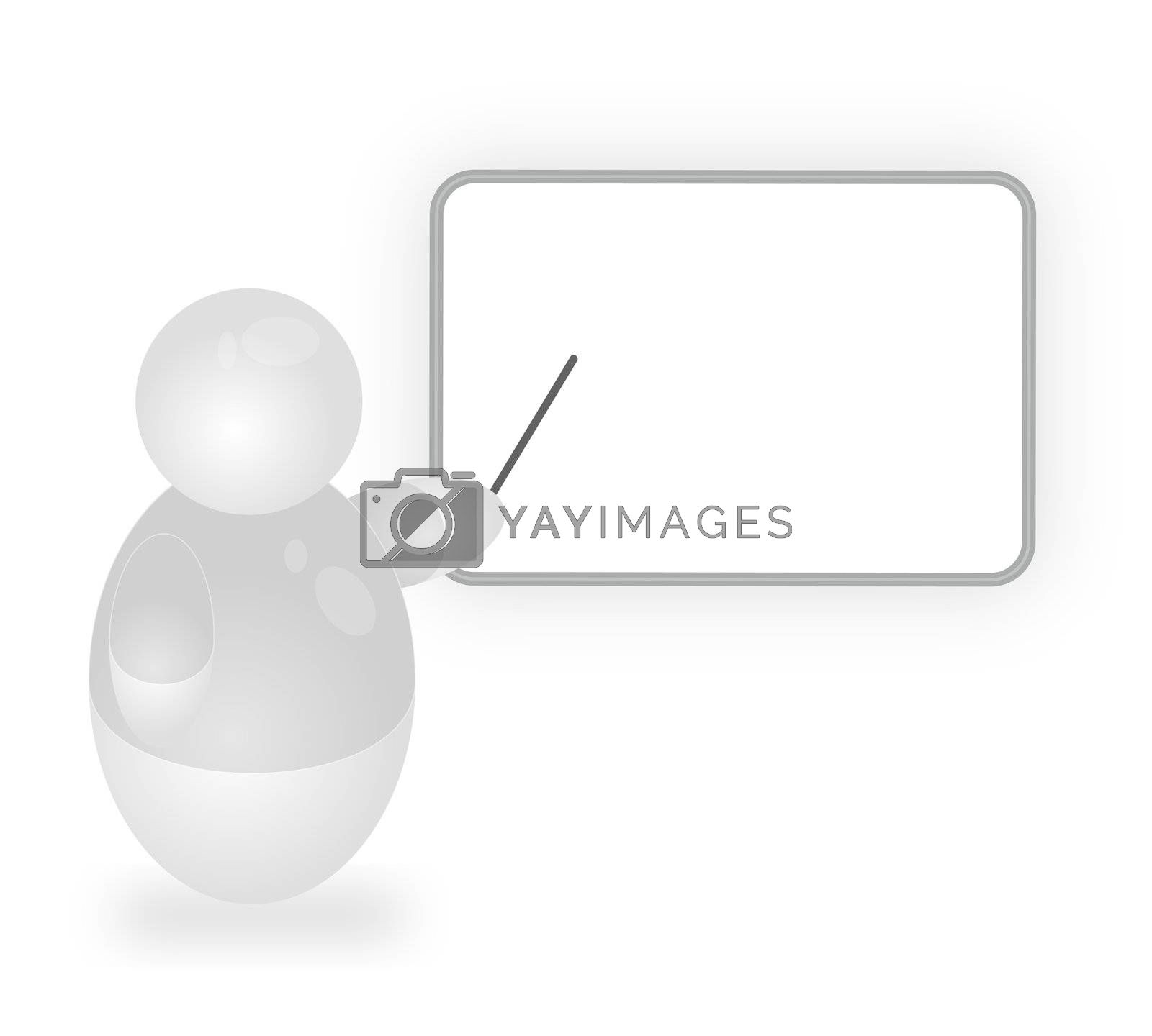 A stylized person points at a blackboard. All isolated on white baackground.