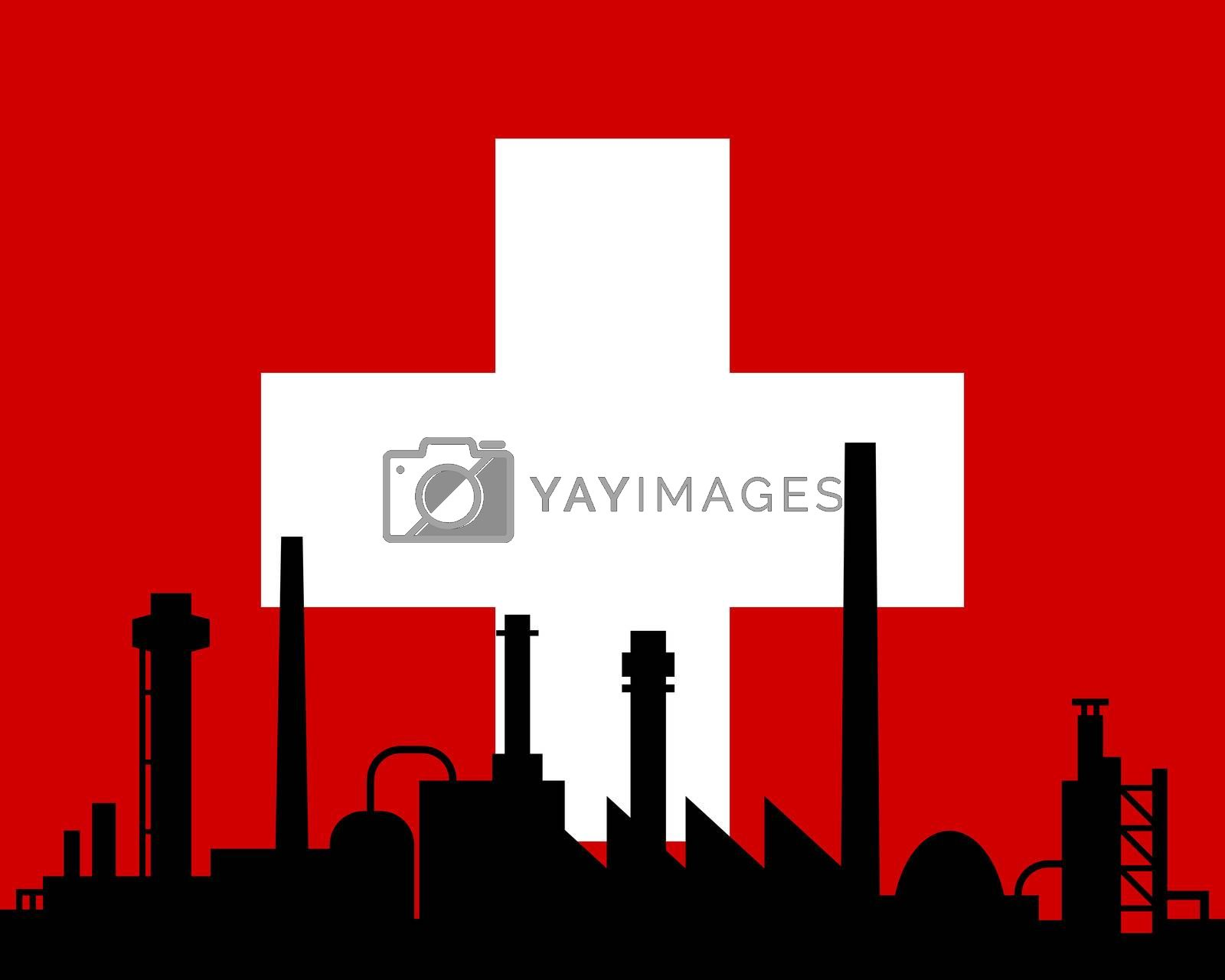Industry and flag of Switzerland