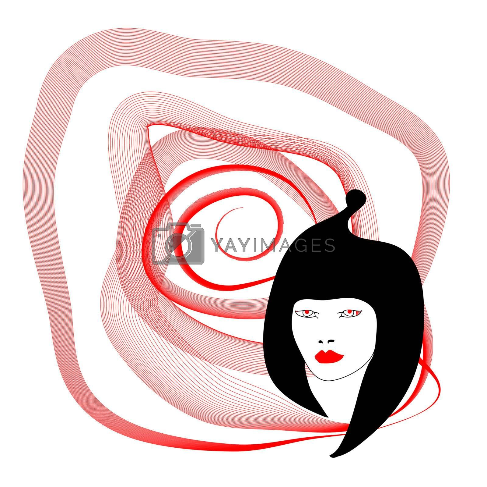 Silhouette of woman with red spiral on white background as idea on the day San Valentino