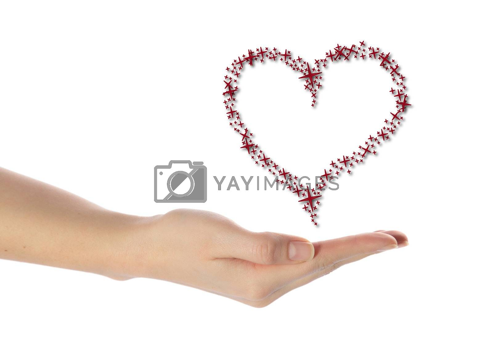 A neat human hand holding a stylized heart out of many stars. All isolated on white background.