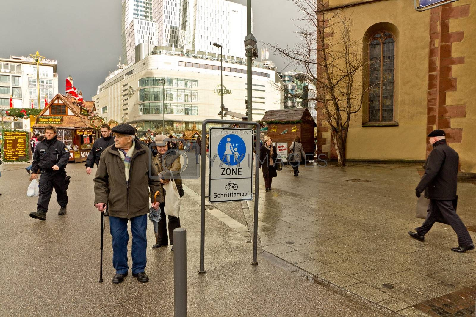 People on the streets of downtown Frankfurt Germany
