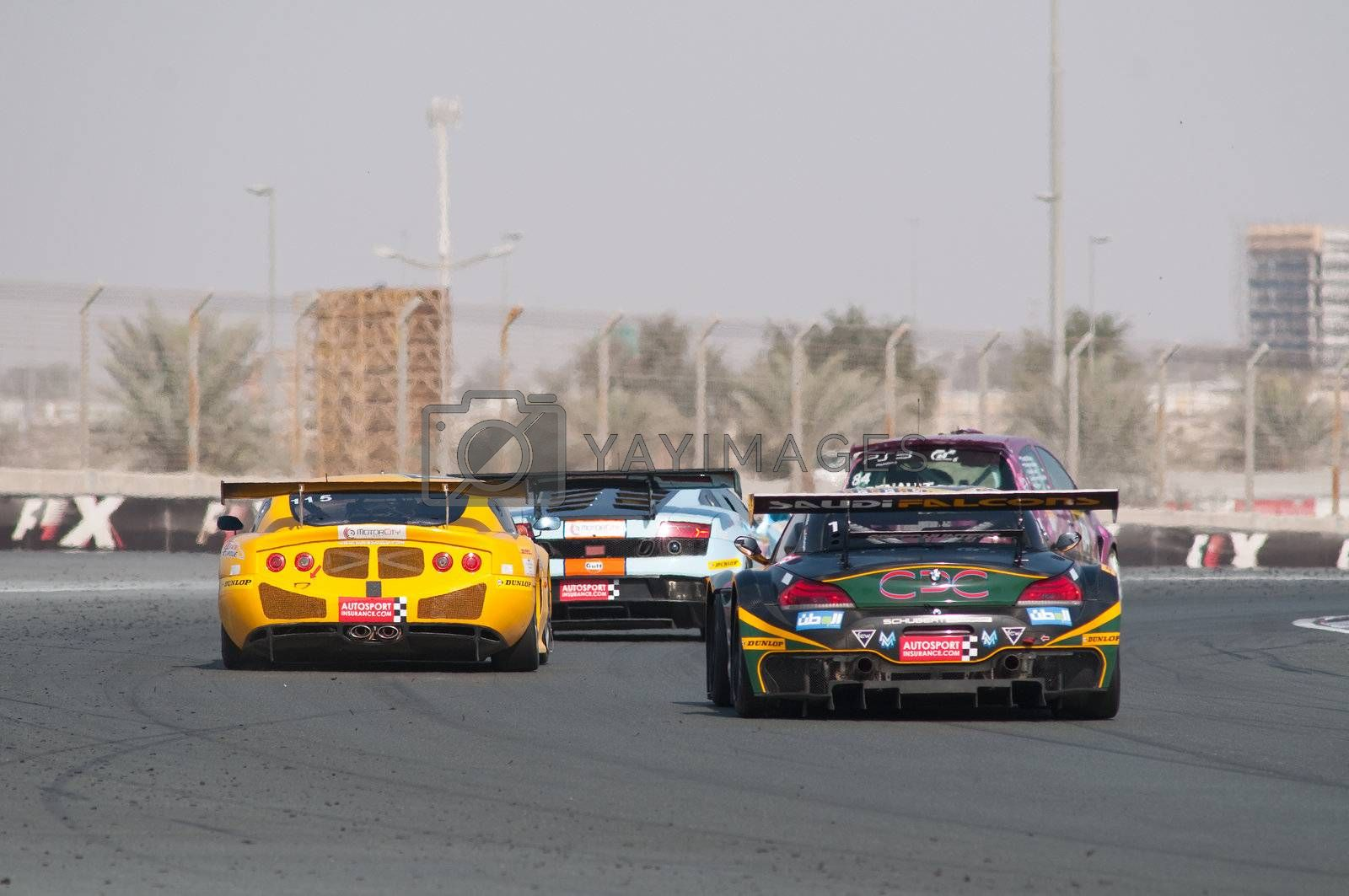 DUBAI - JANUARY 13: Rear of competitors at the 2012 Dunlop 24 Hour Race at Dubai Autodrome on January 13, 2012.