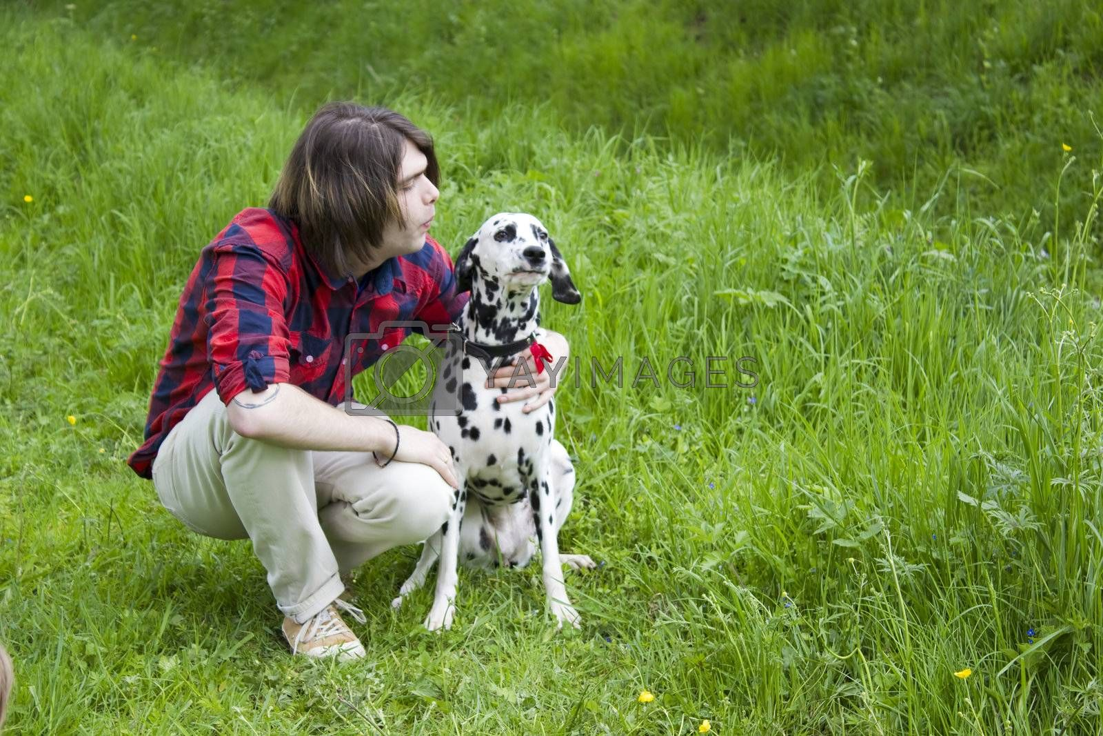 boy and the dalmatian dog