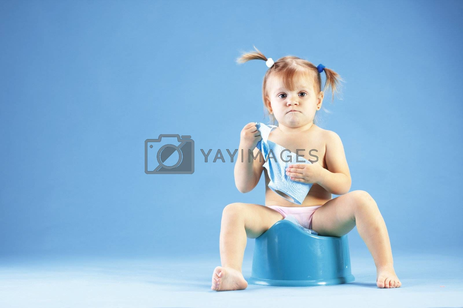 Cute toddler on potty chait by alenkasm